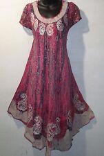Dress Fits 1X 2X 3X Plus Blue Pink Batik Tie Dye A Shaped Sundress NWT 900