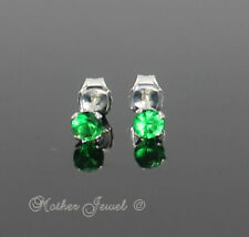 3mm Real Solid 925 STERLING SILVER Emerald Green CZ Earrings Unisex Girls Studs