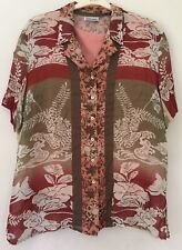 Gerry Weber Ladies Two Piece Coral Red Green Short Sleeve Blouse Size 18