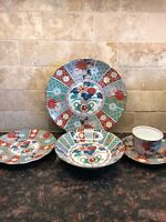 Arita China Imari Fan 20 Pieces 4-Place Settings No Chips