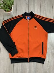 ADIDAS ORIGINALS Mens Track Jacket | Large L | Orange Black - Excellent Cond