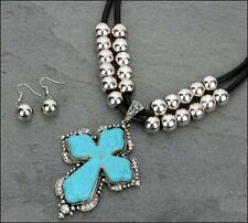 Western Cowgirl Chunky Turquoise Stone Cross Silver Beads Necklace Set