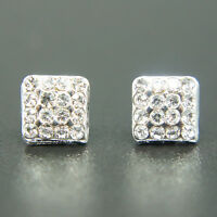 14k white Gold plated with Swarovski crystals brilliant square earrings