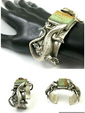 Beautiful Native American Turquoise Hand Stamped Lizard Bracelet