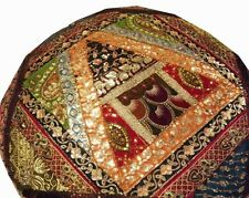 "40"" BEIGE EXQUISITE KUNDAN VINTAGE SARI THROW FLOOR BED CUSHION PILLOW COVER"