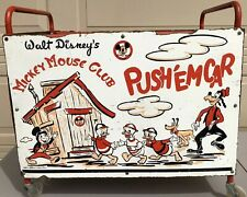 Vintage 1950's Walt Disney's Mickey Mouse Club Push 'Em Car Cart with Wheels