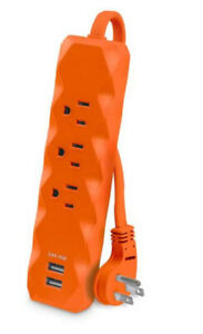 CyberPower 3 ft. 3-Outlet 2-USB Surge Protector, Orange