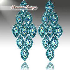 """Beautiful Blue Zircon Crystal Rhinestone Chandelier Earrings  3.5""""  pierced ears"""