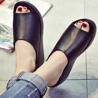 AU Womens Sandals Slipper Platform Wedge Mules Open Toe Slides Shoes Summer Size