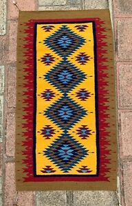 """Zapotec Oaxacan 25""""x45 """"Hand Woven Diamond Organic Dyed Colorful Tapestry Rug"""