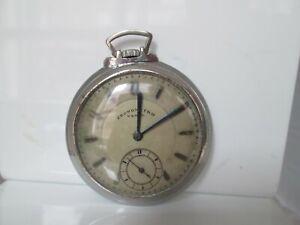 Reloj bolsillo. Cronómetro Vegal. Remontoir. Metal cromado. Lepine. Años 20