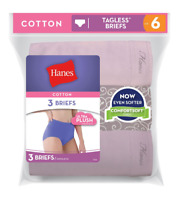 Hanes Women's Cotton Tagless Briefs Panties Soft Ultra Plush Size M-5X (3-Pack)