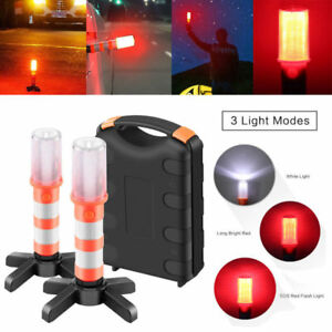 2PCS 3 In 1 Road LED Emergency Beacon Roadside SOS Flares Safety Strobe Light