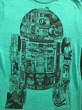 Star Wars R2-D2 Jedi Collage Green Heather T-Shirt Sz.S