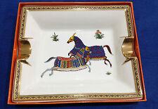 Vintage HERMES PARIS 2 Horses Gilt Pottery Cigar Ashtray MADE IN FRANCE