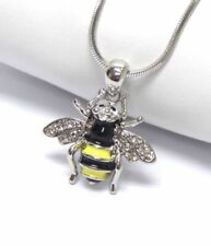 Crystal Bumblebee Necklace Queen bumble bee White Gold Plated Gift For Women
