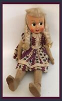 Vintage Celluloid/Cloth Polish Doll Blonde Braids & Dress W/Leather/Wire Joints