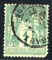 1876-78 FRANCE Green Type Sage SC#64 A15 1c USED