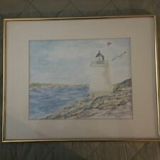 Signed Lelli Newport RI Castle Hill Lighthouse Nautical Watercolor Painting