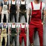 Men Skinny Jeans Jumpsuit Simple Slim Fit Denim Bib Overalls Trousers