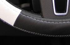 "New 14.5"" Black & White Steering Wheel Cover PVC Leather 58014 Sedan Coupe"