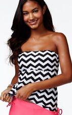 Hula Honey Junior Small Black Chevron Stripe Tankini Swimsuit TOP No Strap NWT S