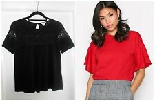 New Look Ruffle Sleeve H&M Open lace detail Cotton Blend Tops Size XS 6