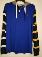 Polo Ralph Lauren Mens M Blue Color Blocked Hooded Rugby Long Sleeve Shirt