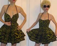 BETSEY JOHNSON GREEN LEOPARD DRESS RUCHED BONED CORSET BABYDOLL POOFY SKIRT 2