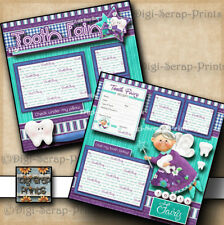 TOOTH FAIRY ~ 2 premade scrapbook pages paper piecing printed layout ~ DIGISCRAP