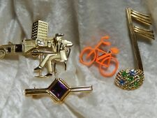 Vintage Costume Jewerly Brooches Bicycle, Musical Note, Rhinestones lot of 4