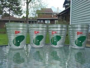 Vintage Set of Four (4) Tervis Golf Tumblers Cups Glasses Holes 1, 9, 18, and 19