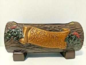 Christmas Yule Log Planter Vase Centerpiece Starter Vtg Ceramic Mold