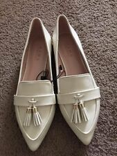 ZARA Beige Tasselled Patent leather Flat Shoes with size EU39 / US 8