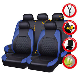 Universal Soft Leather Car Seat Covers Blue Black Side Airbag For VAN SUV Ford