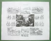 RUSSIA Russian People Tatars in Crimea Dog Sled - 1860s Print Multiple Views