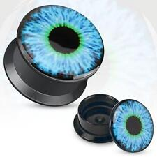 Earrings Ring Black UV Screw Fit Plug with Hollow Blue Eyeball Sold as a pair 8g