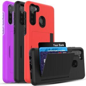 Galaxy A21 / Galaxy A11 Case, Wallet Card Holder Case + Screen Protector
