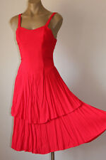 """FRENCH! VINTAGE """"CANDY APPLE"""" SWINGY LAYERED PARTY SUN DRESS 12"""