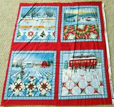 "1 Colorful OOP ""Christmas Quilts"" Fabric Quilting Sewing Crafting Panel"