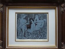 Pencil Signed Picasso Linogravure Blue Period Two Nudes in Boudoir Framed COA