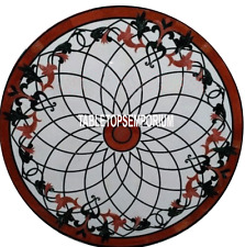 """30"""" White Marble Center Table Top Carnelian Gems Inlay Mosaic Home Furniture"""