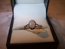 VINTAGE 9 CARAT GOLD LARGE OPAL SOLITAIRE RING FULL HM VERY GOOD CONDITION