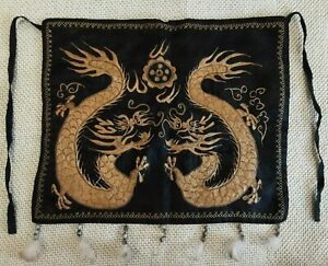 Antique Handmade Miao's  Hmong  Embroidery CHINESE GOLD dragon SILK THREAD apron
