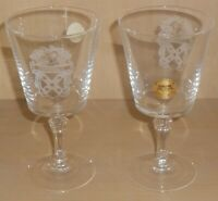 Sanson CRYSTAL WINE GLASS Connally Coat of Arms Presentation Goblets in Box
