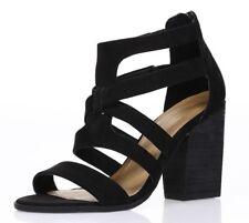MELROSE & MARKET Womens 'Rory' Black Strappy Block Heel Sandals Sz 7 M - 232629