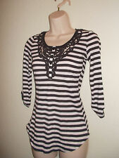 Womens Summer White Black Blouse Top Vest Shirt Size S Casual Career
