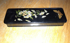 Vintage Black Laquer Long Glove Box Hand Painted Butterfly and Floral Detailing