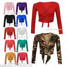 H7D Women's Long Sleeve Tie up Ladies Bolero Shrug Cardigan Top Plus Size 8-22