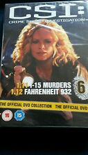 CSI: Crime Scene DVD Collection 1.11 1-15 Murders & 1.12 Fahrenheit 932 R2 UK